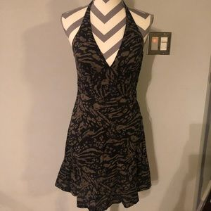 H&M Tiger Halter Dress Sundress Mini Olive Cotton